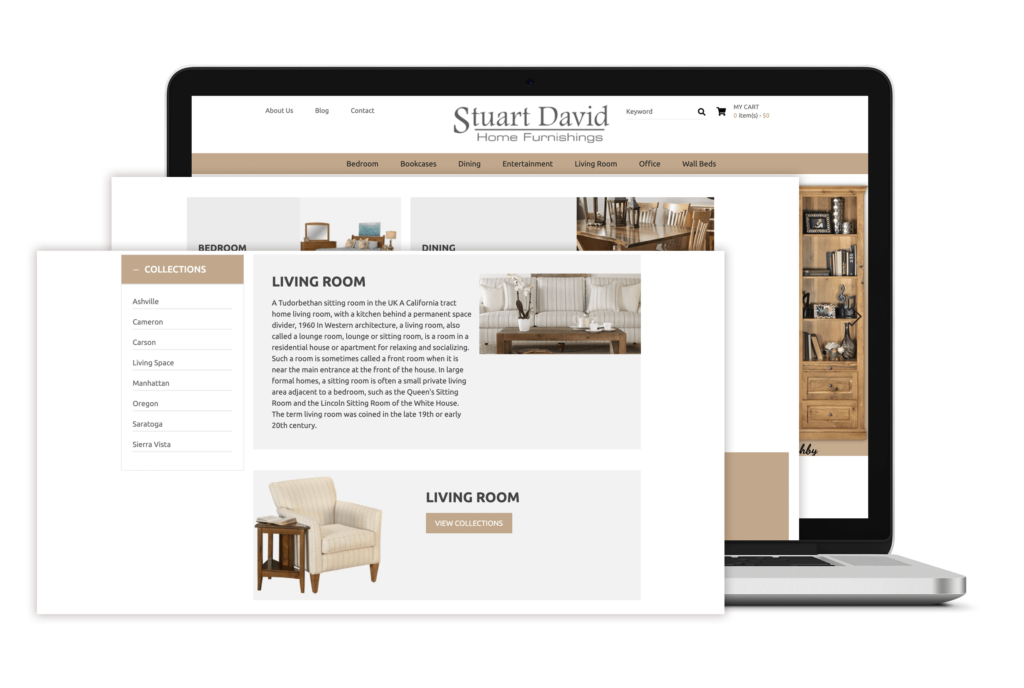 Stuart David Portfolio - website for e-commerce
