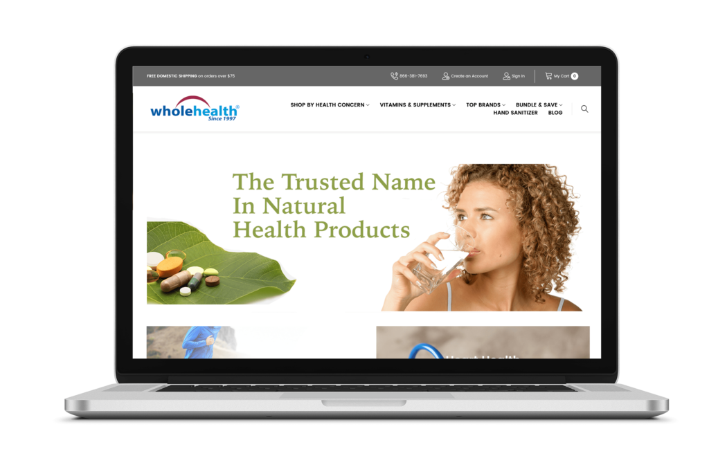 wholehealth_front - website for e-commerce health